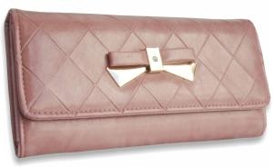 Dámska peňaženka kožená s mašľou ružová afcb76ff1ff